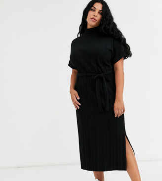 ASOS DESIGN Curve exclusive extreme rib midi t-shirt dress with tie belt