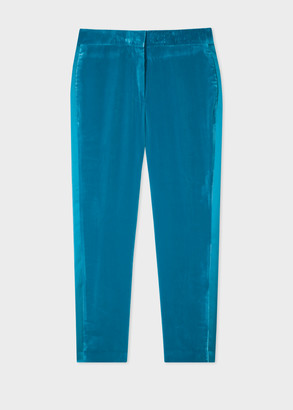 Women's Slim-Fit Turquoise Velvet Trousers With Satin Stripe