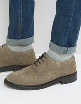 Asos Brogue Shoes In Gray Suede
