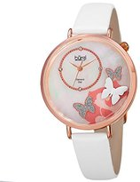 Burgi Women's Rose-Tone Case with Genuine Diamond Accented Butterfly Design Mother-of-Pearl Dial on White Leather Strap Watch BUR158WTR