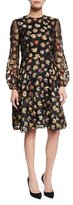 Co Long-Sleeve Floral Dress, Multi Colors