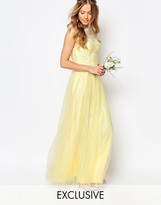 Chi Chi London Bardot Neck Sleeveless Maxi Dress with Premium Lace and Tulle Skirt
