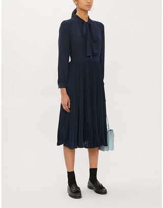Claudie Pierlot Pussybow crepe midi dress