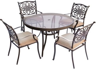 Cambridge Silversmiths Seasons 5-Piece Dining Set in Tan with 48 In. Glass-top Table