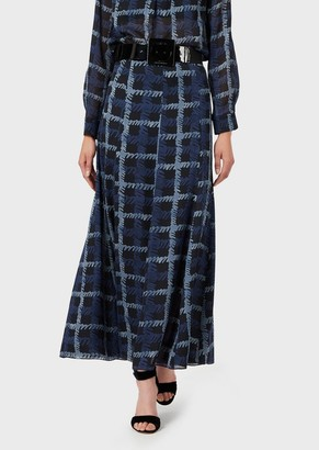 Emporio Armani Long, Silk-Georgette Skirt With Abstract Plaid Print