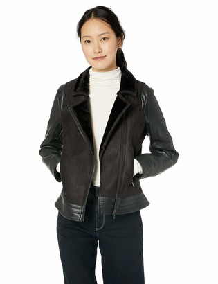 Calvin Klein Women's Black Shearling with PU Sleeve X-Large