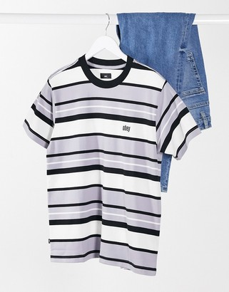Obey oversized grey tonal stripe t-shirt with small logo