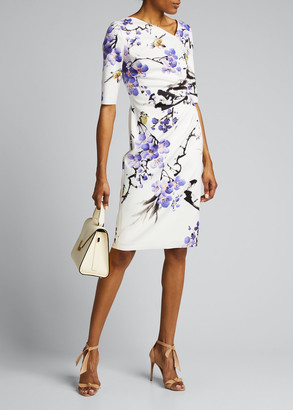 Rickie Freeman For Teri Jon Floral Elbow-Sleeve Scuba Sheath Dress