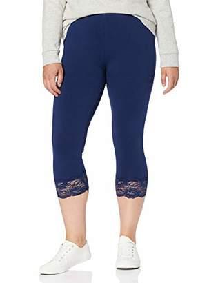 Ulla Popken Women's Plus Size Lace Trim Capri Leggings 16/18 710170 73-42+