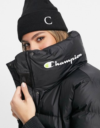 Champion cropped logo jacket in black