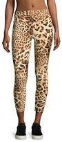 Norma Kamali Cropped Leopard-Print Leggings, Multicolor Pattern