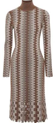 Diane von Furstenberg Cutout Intarsia Merino Wool Turtleneck Dress