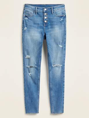 Old Navy High-Waisted Distressed Button-Fly Rockstar Super Skinny Ankle Jeans for Women