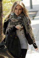 Wool Cape Scarf With Suede Fringe