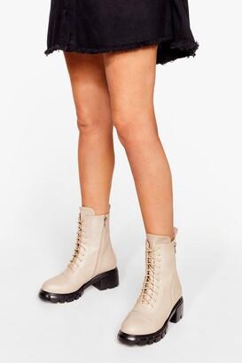 Nasty Gal Womens Zip the Small Talk Lace-Up Biker Boots - Beige - 4