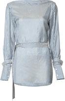 Calvin Klein striped belted blouse - women - Cupro - 2