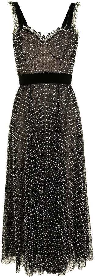 RALPH & RUSSO Pearl-Embellished Silk Bustier Dress