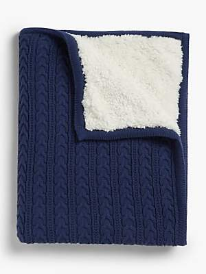 John Lewis & Partners Cable Knit Baby Blanket, Navy