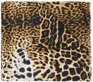 Saint Laurent Leopard-Print Silk Scarf