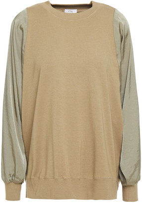 Clu Twill-paneled Stretch Cotton And Modal-blend French Terry Top