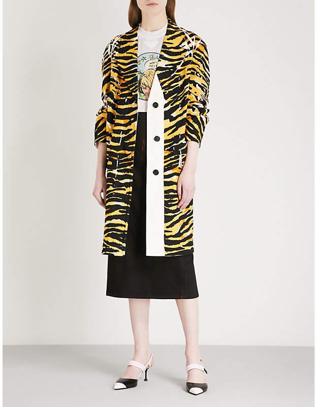 Prada Patch-detail tiger-print denim coat