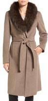 Ellen Tracy Women's Genuine Fox Collar Wool Blend Long Wrap Coat