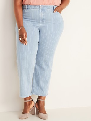 Old Navy High-Waisted Secret-Slim Pockets Pinstriped Plus-Size Slim Wide-Leg Jeans