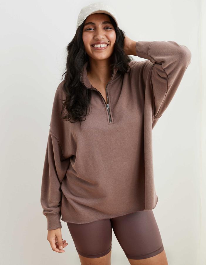 aerie Sunday Soft Quarter Zip Sweatshirt