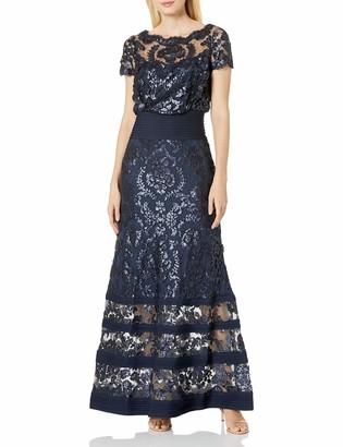 Tadashi Shoji Women's Sequin-Blouson & Tucking Detail-Short SLV Gown
