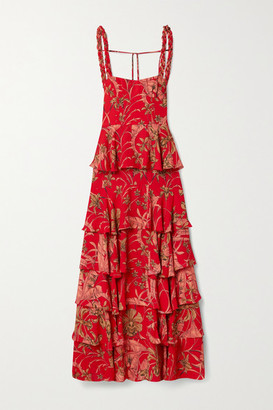 Johanna Ortiz Life Goals Tiered Printed Crepe Maxi Dress - Tomato red
