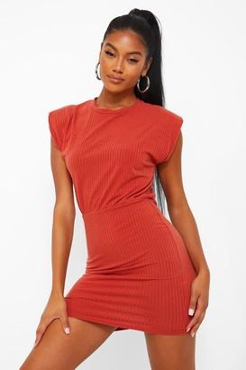 boohoo Soft Rib Shoulder Pad Bodycon Dress
