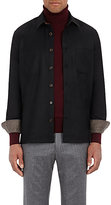 Luciano Barbera Men's Polished Wool Twill Shirt-BLACK