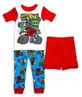 AME Sleepwear Little Boy's Three-Piece Cars Pajama Set