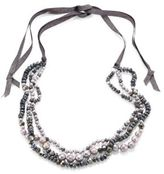Chan Luu 6MM Grey Potato Pearl, 9-10MM Cultured Freshwater Pearl, Pyrite & Mystic Lab Tie Necklace