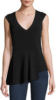 Laundry by Shelli Segal Asymmetric-Peplum Solid Top, Black