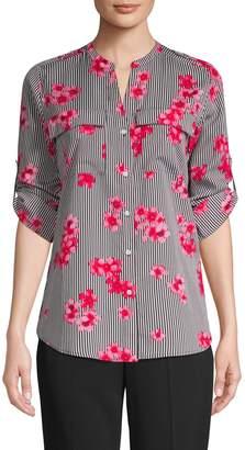 Calvin Klein Collection Striped Floral Blouse
