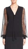 Michael Kors Women's Lace Sleeve Tie Neck Wool Sweater