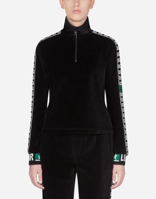 Dolce & Gabbana Velvet Sweatshirt With Logo Bands