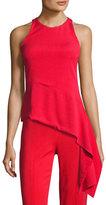 Cushnie et Ochs Stretch-Crepe Sleeveless Top with Asymmetric Hem, Red