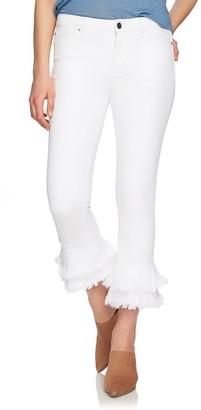 1 STATE 5-Pocket Ruffle Frayed Hem Jeans