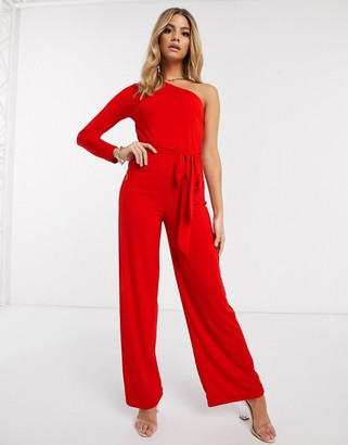 AX Paris one shoulder jumpsuit in red