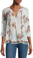 Joie Gloria Floral-Print Silk Blouse, White