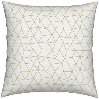 Roostery Yellow Gender Neutral Mustard Geometric Raster Throw Pillow Linen Cott