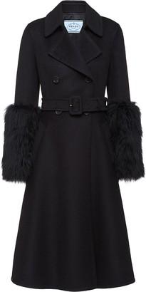 Prada Furry Cuff Coat