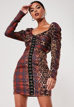 Missguided Red Leopard Plaid Print Hook And Eye Dress