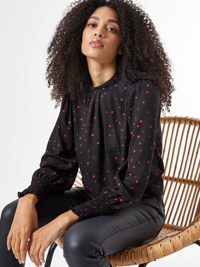 Thumbnail for your product : Dorothy Perkins Heart Print Long Sleeve Top -Black