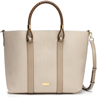 Michael Kors Leather-trimmed Woven Tote