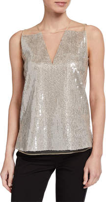 Akris Sequined Tulle V-Neck Top