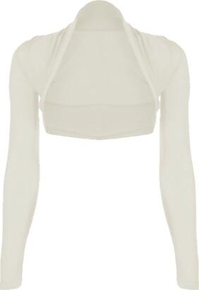 Candid Styles Womens Long Sleeve Bolero Cropped Ladies Open Shrug Mini Blouse Top Jacket 8-26