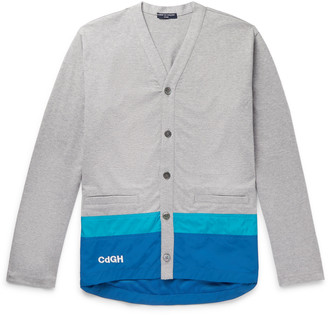 Logo-Embroidered Striped Shell-Trimmed Cotton Cardigan